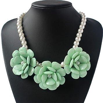 3e94829aa218 GJJ Collar de Perlas exagerado de la Moda - Collar de Perlas Rosa Tejido a  Mano