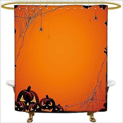 Qinyan Home Bathroom Collection Custom Waterproof Grunge Design Spider Web Pumpkins Horror Time Of