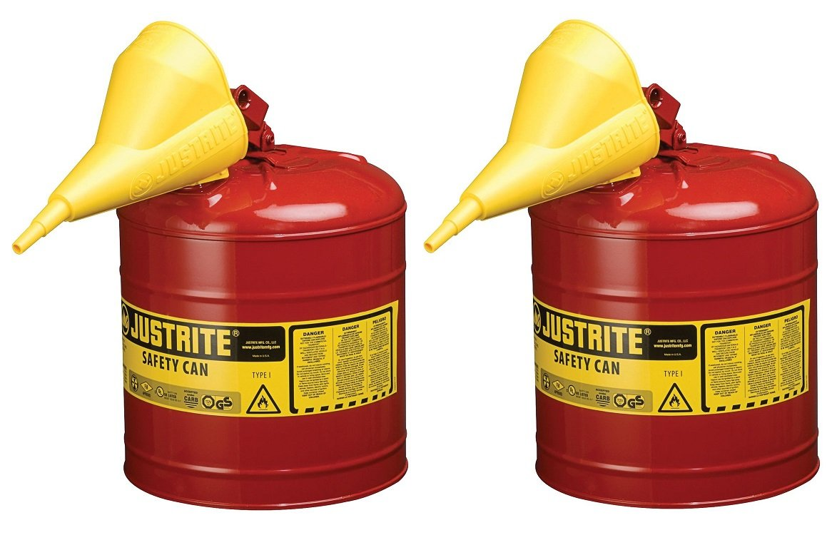 Justrite 7150110 5 Gallon, 11.75'' OD x 16.875'' H Galvanized Steel Type I Red Safety Can With Funnel (Pack of 2)