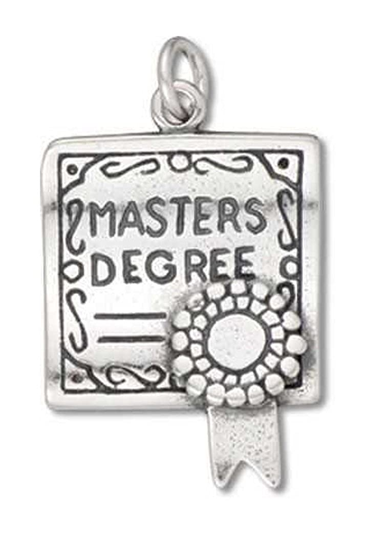 Sterling Silver Girls .8mm Box Chain 3D Masters Degree Certificate Pendant Necklace