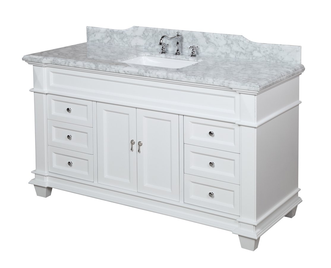 Elizabeth 60-inch Single Sink Bathroom Vanity Carrara White Includes Authentic Italian Carrara Marble Countertop, White Cabinet with Soft Close Drawers, and White Ceramic Sink