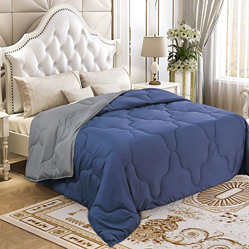 YGJT Comforter Set Queen reversible downward alternative Comforter Duvet Insert Thin Quilt for Spring the summer season Autumn stream-lined Washable Navy Blue Grey Cloud Stitched 90 x 90 inch