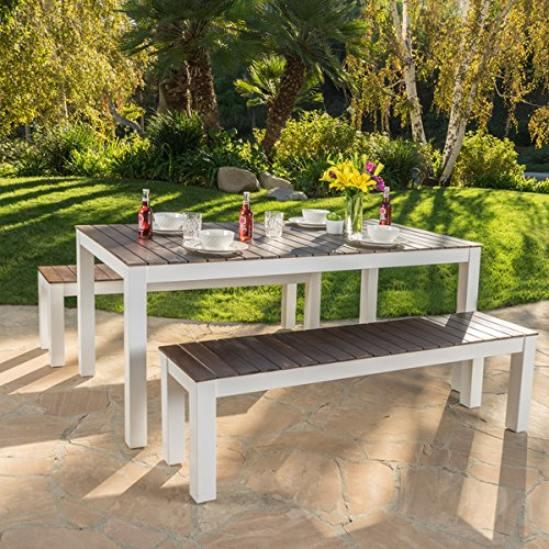 3 Piece White Finish (Bali Outdoor 3-piece Wood Picnic Set by Christopher Knight Home)