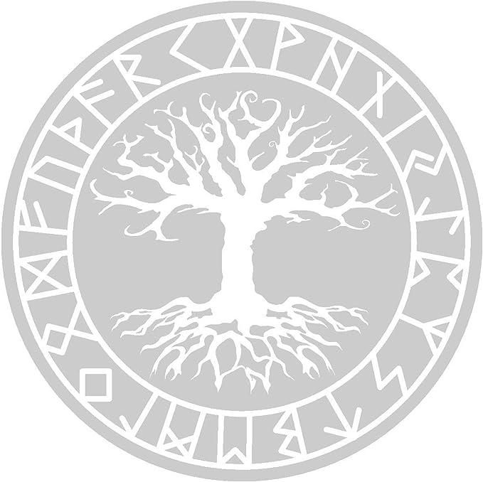 Samunshi Aufkleber Yggdrasil Mit Runen 4 Vikings Wikinger Für Auto Motorrad In 11 Größen Und 25 Farben 20x20cm Silber Küche Haushalt