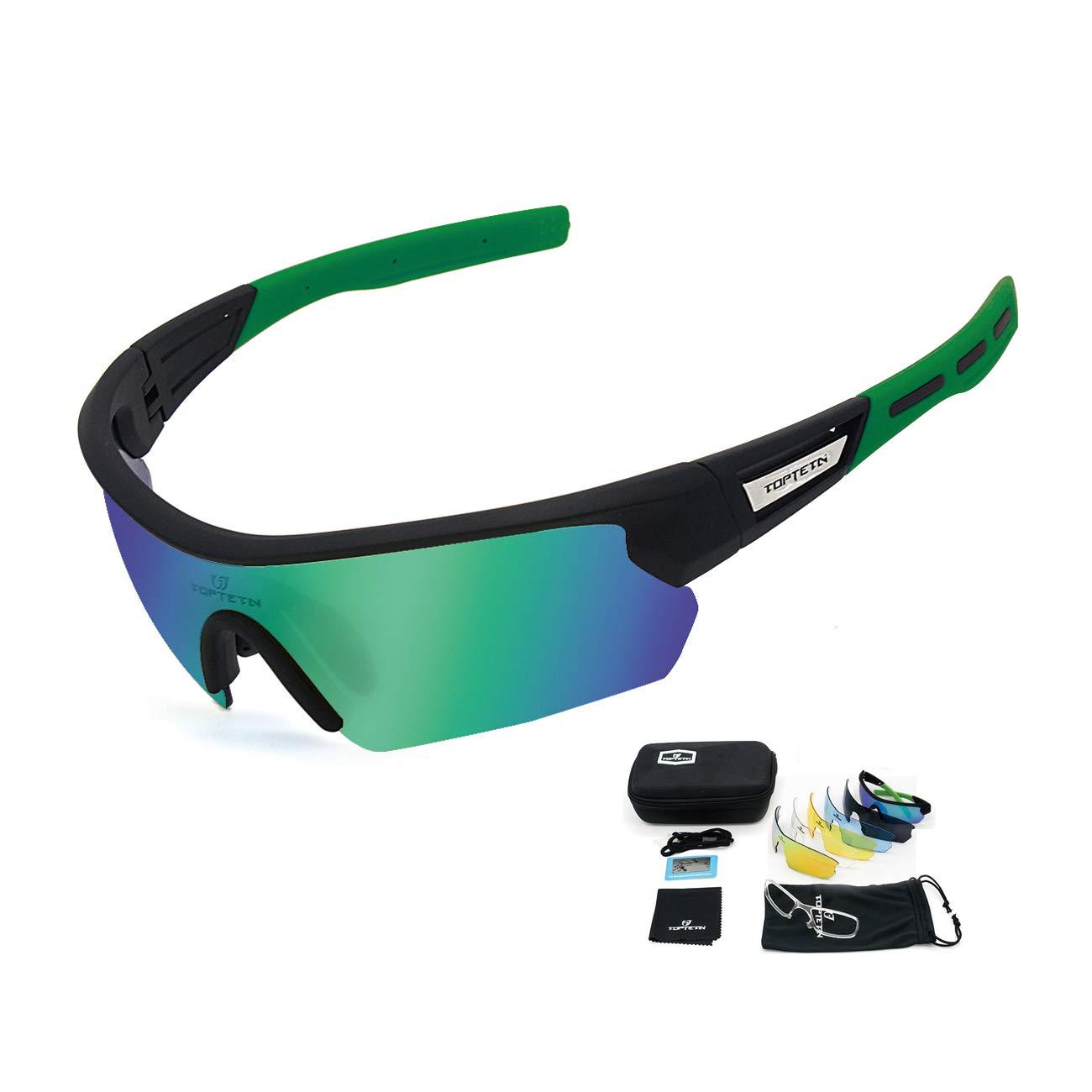 TOPTETN Gafas Ciclismo Polarizadas con 5 Lentes Intercambiables Gafas de Sol Deportivas Antivaho Antireflejo Anti Viento y UV Adaptadas a Deporte ...