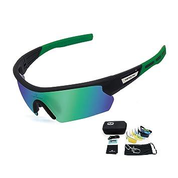 diseño de calidad 54595 14045 TOPTETN Gafas Ciclismo Polarizadas con 5 Lentes Intercambiables Gafas de  Sol Deportivas Antivaho Antireflejo Anti Viento y UV Adaptadas a Deporte ...