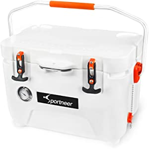 Sportneer 25 Quart Cooler with Built-in Thermometer for Camping, Picnic, BBQ, Fishing, Hunting with Unmatched Ice Retention, Bear Resistant and Zero Leakage