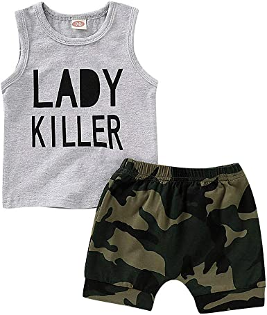 Infant Baby Boy Sleeveless Letters Vest Top Shorts Boys Summer Outfits Set
