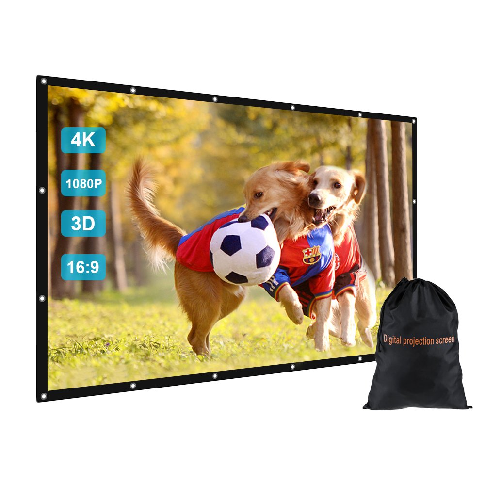 GBTIGER 150 inch Outdoor Movie Projector Screen with Bag, 150'' 16:9 Portable Folding Outdoor Movie Screen for Home Cinema Theater Movies Presentation Education Outdoor Indoor Public Display etc.