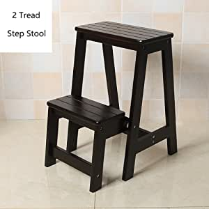 YD-Step stool Wood 2 Step Stool Adults & Kids Indoor Folding Stepladder Kitchen Wooden Ladders Small Foot Stools Portable Shoe Bench/Flower Rack /&