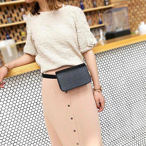 Leather Casual Packs Waist Widewing Belt Flap Women Black PU Fanny Shoulder Handbag Purse qnR1w8Egxw
