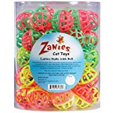 Zanies Plastic Lattice Balls Cat Toy Canister, 50-Pack