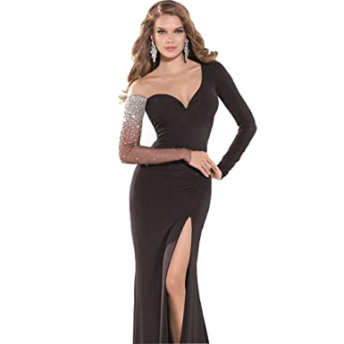 Dodys Dresses Embellished Black High Slit Gown By Tarik Ediz 92373