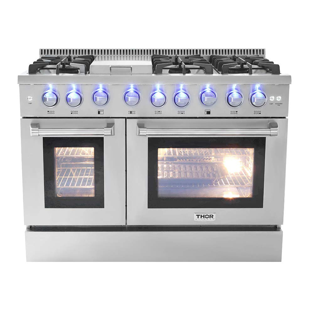 Thor Kitchen Gas Range with 6 Burners and Double Ovens with 4.2 cu.Ft and 2.5 cu, ft oven capacity Stainless Steel - HRG4808U-1