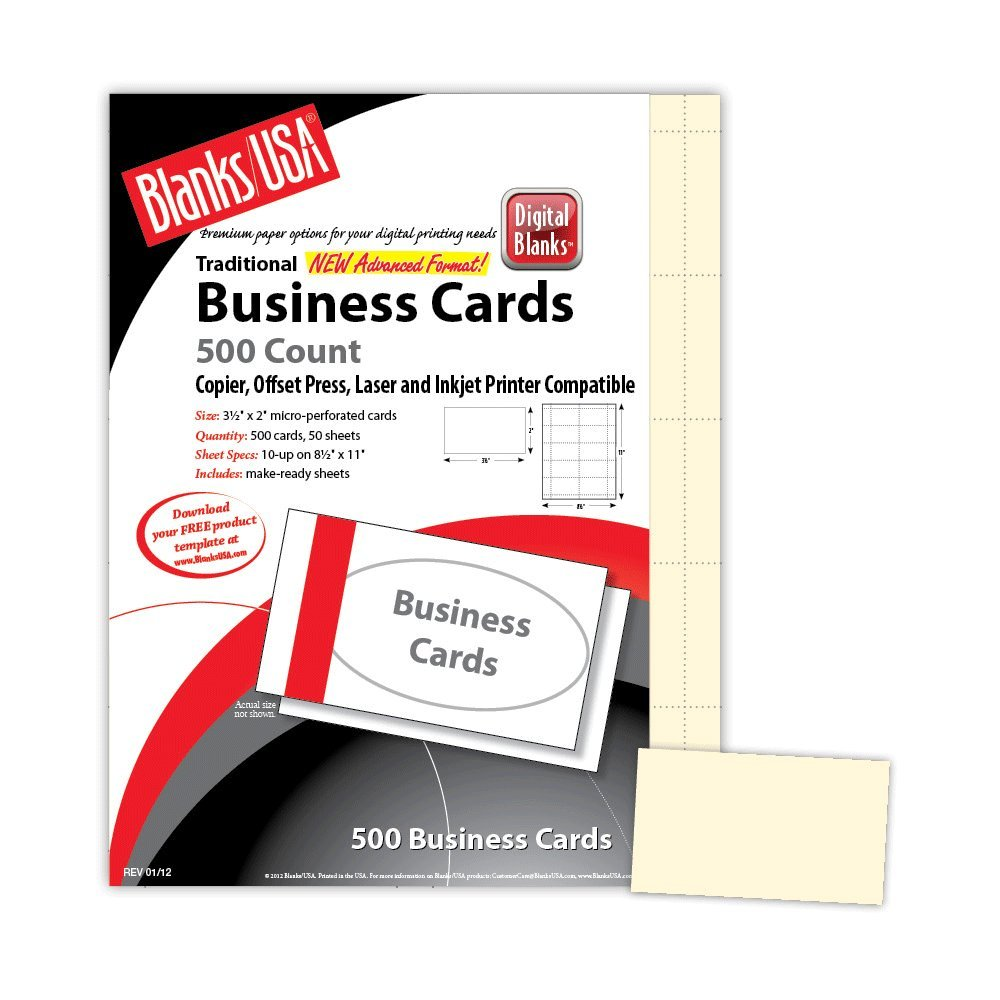 IVORY PERFORATED BUSINESS CARDS 8.5X11 10UP PER SHEET COVER STOCK 100 SHEETS/PACK by Blanks, USA