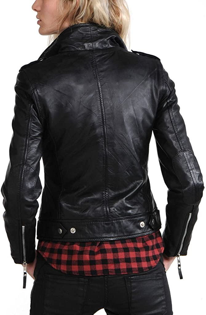 New Womens Motorcycle Genuine Sheep Leather Party Jacket LFW268