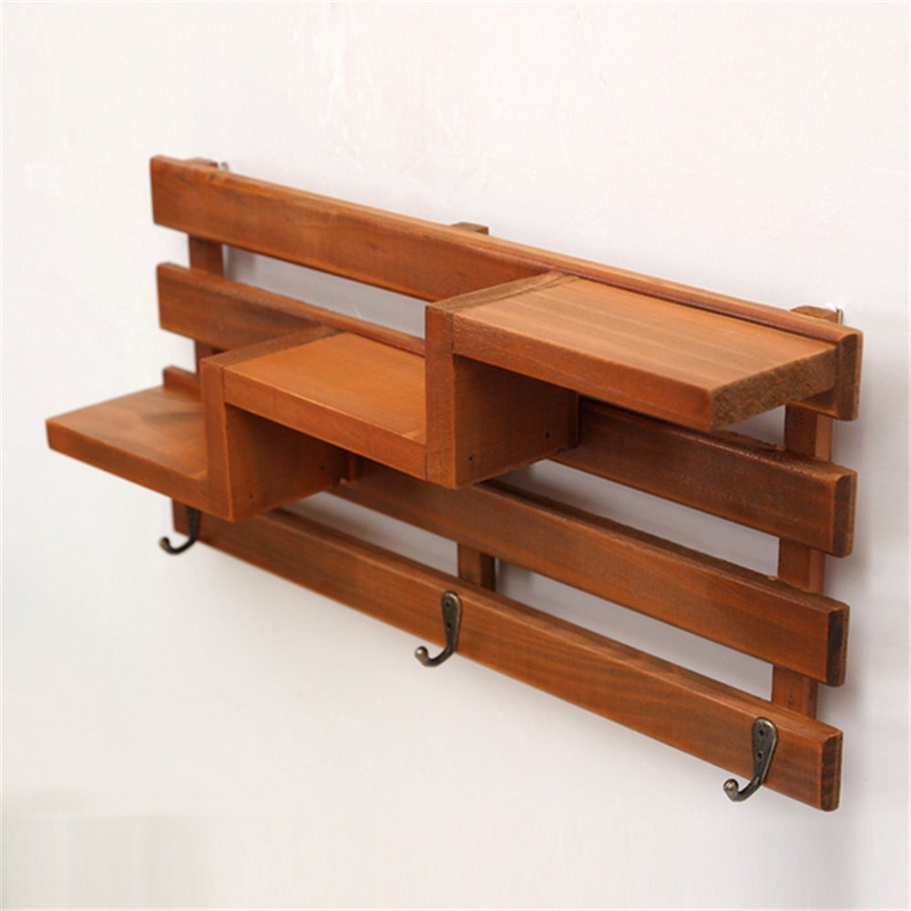 Chris.W Wall Mount Wooden Shelf with 3 Key Hooks / 3-Tier Mini Flower Pot/Planter/Doll/Beauty Supplies Rack for Hallway/Kitchen/Bathroom/Office Supplies Organizing Displaying by Chris.W (Image #3)