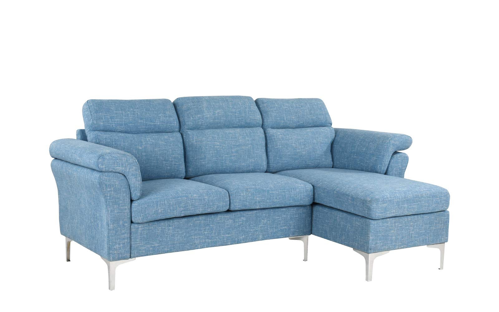 Casa Andrea Milano Modern Linen Fabric Sectional Sofa - Small Space Couch (Light Blue) - This small space sectional sofa features an exquisite modern design with wrap around armrest cushions for extra comfort. Our modern sectional sofa comes wrapped in carefully selected linen fabric upholstery. This modern sectional sofa has been specifically designed to fit into small spaces while still remaining spacious Our specially designed fabric provides the ultimate look while maintaining durability. - sofas-couches, living-room-furniture, living-room - 61MDvY33KpL -