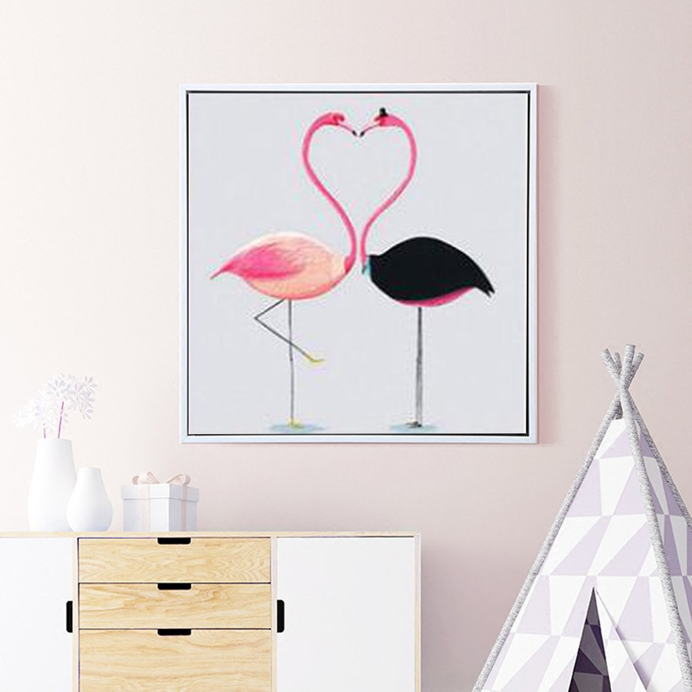 Cross stitch kits for Flamingos - Eafior DIY Handmade Needlework Embroidery Kits Simple and Modern Cute Flamingos pattern printed design Home Decoration Wall Decor(Frameless)