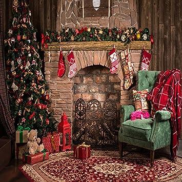 Fondo para estudio de fotografía, diseño de Navidad, con árbol de Navidad, chimenea, sofá y calcetines (1,5 m x 2,1 m): Amazon.es: Electrónica