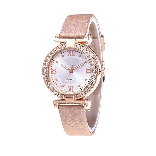 LONGQI - Reloj luminoso para mujer, esfera simple con números romanos, marcas de tiempo, relojes de muñeca: Amazon.es: Relojes