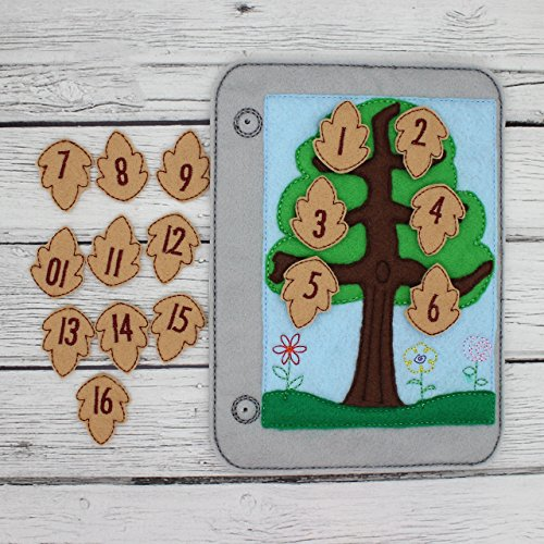 Leaf Tree Number Counting Matching Felt Quiet Book Page, Busy Toddler Educational Learning Toy
