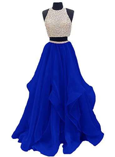 Dressytailor Two Piece Floor Length Organza Prom Dress Beaded Evening Gown