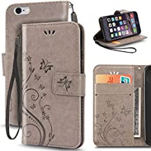 iPhone 6 Plus Case, Korecase Premiun Wallet Leather Credit Card Holder Butterfly Flower Pattern Flip Folio Stand Case for Apple iPhone 6 6S Plus 5.5 Inch With a Wrist Strap (Gray)