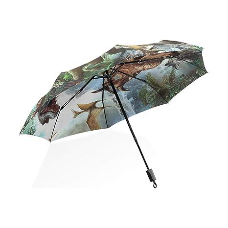 ISAOA Paraguas de Viaje automático Compacto Plegable Dinosaurio Jurásico Resistente al Viento Ultra Ligero UV protección