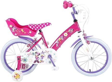 Disney Bicicleta Niña Minnie Mouse 16 Pulgadas Frenos al Manillar Ruedas Extraíbles la Cesta y Asiento Trasero de la Muñeca Rosa 85% Montado: Amazon.es: Deportes y aire libre