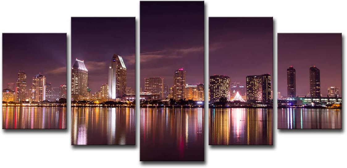 Mytinaart Art - Modern Wall Art San Diego California Skyline Purple Sky Night Scenery Posters Paintings Canvas Prints 5 Piece Pictures for Home Decor Living Room - Unframed - Price Only Print Canvas