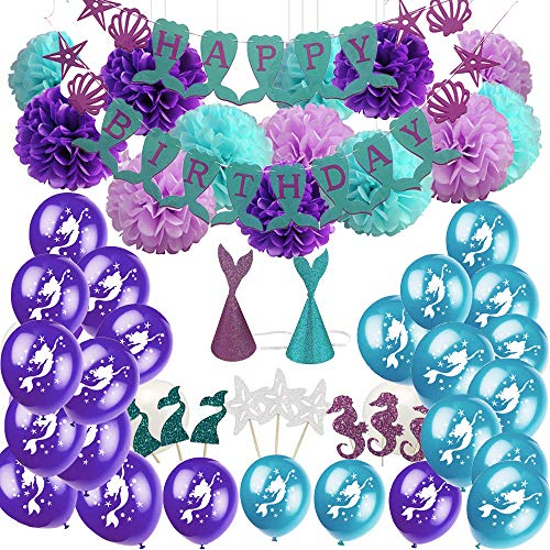 60 Pack Mermaid Party Supplies & Party Decorations for Baby Shower Party Sea Theme Girls Birthday Party Decorations