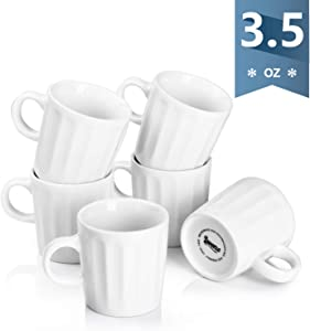 Sweese 410.001 Porcelain Fluted Espresso Cups - 3.5 Ounce - Set of 6, White