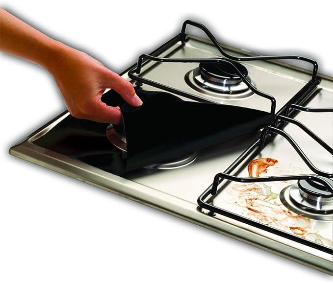 Forsisco Stove Burner Covers for Gas Range Cleaning Reusable Gas Stove Burner Liners for Gas Stove Sliver Stove Top Protector for Gas Burners