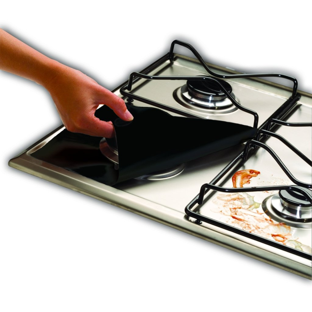 4-Pack Cooks Innovations Black Non-Stick Burner Covers - Easy Clean Gas Range Protectors – Universal Cut to Fit