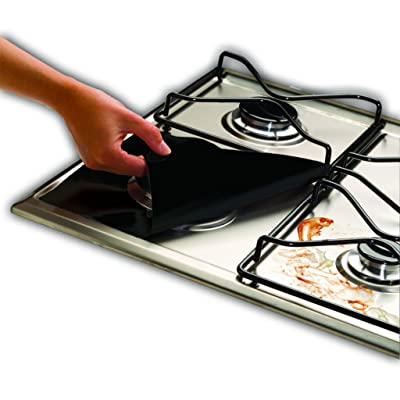 Cooks Innovations - Gas Range Protectors; Non-Stick, Easy-Clean, Black, Set of 4
