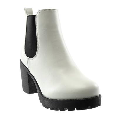 Angkorly - Zapatillas Moda Botines Chelsea Boots Plataforma Slip-on Mujer elástico Tacón Ancho Alto 8 CM: Amazon.es: Zapatos y complementos