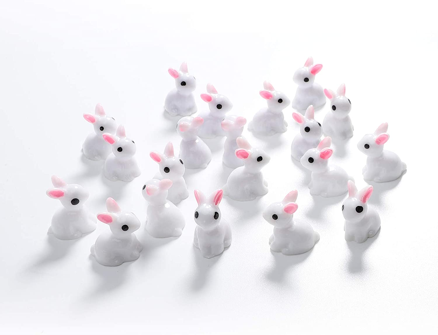 TCJJ 60 Pieces Easter Mini Bunny Figurines Fairy Garden Animals Miniature Ornaments for Fairy Garden Flower Pot Cake Topper Home Easter Decoration (Pack of 60)