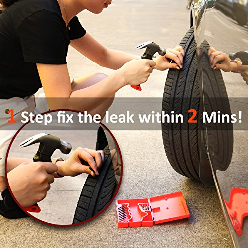 [ Full Refund for Any Dissatisfaction ] Tire Repair Kit,2 Minutes Fixs Leaking Forever,Apicallife Tire Plug Kit for Car,Motorcycle, ATV, Jeep, Truck etc,Tubeless Tire Repair Kit