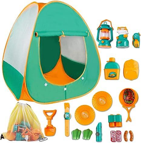 deAO Juego de Supervivencia Camping Infantil Conjunto de Imitación para Niños y Niñas Incluye Tienda de Campaña Pop Up, Farol, Camping Gas y ...