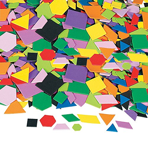(Fun Express - Mosaic Geometric Foam Adhesive Shapes - Craft Supplies - Foam Shapes - Regular - 1000 Pieces)