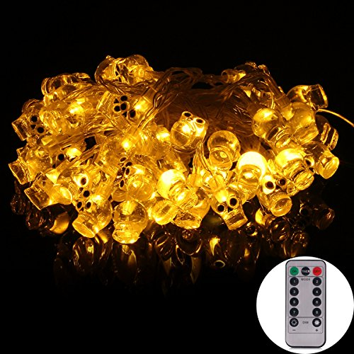 echosari [Remote & Timer] 16 Feet Battery Operated Halloween String Light with 50 LED Skulls, 8 Modes Dimmable (Warm White) -