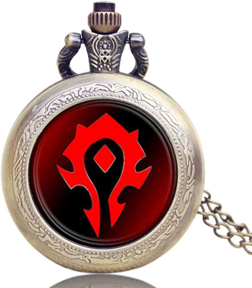 Reloj de bolsillo clásico Wow World of Warcraft Tribal Emblema símbolo Game Movie reloj de bolsillo para hombre, reloj de bolsillo de cuarzo regalo: Amazon.es: Relojes