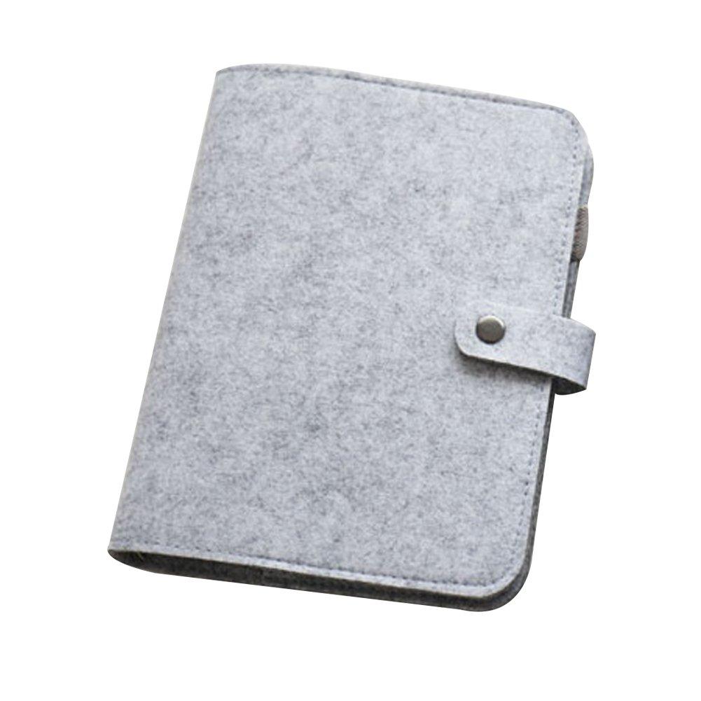 con hojas sueltas 6 anillas redondas escuela A5//A6 sin p/áginas interiores para ejercicios de escritura a mano recargable Funda para cuaderno de fieltro oficina color gris oscuro A6