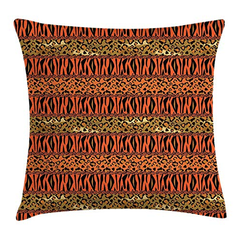 - WCMBY African Throw Pillow Cushion Cover, Leopard and Cheetah Skin Savannah Pattern Safari Fauna Timeless Artwork, Decorative Square Accent Pillow Case, 18 X 18 Inches, Sephia Orange Amber