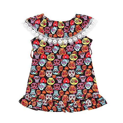 TEVEQ Baby Girls Dress Cartoon Skull Print Dress Halloween Costume Outfits]()