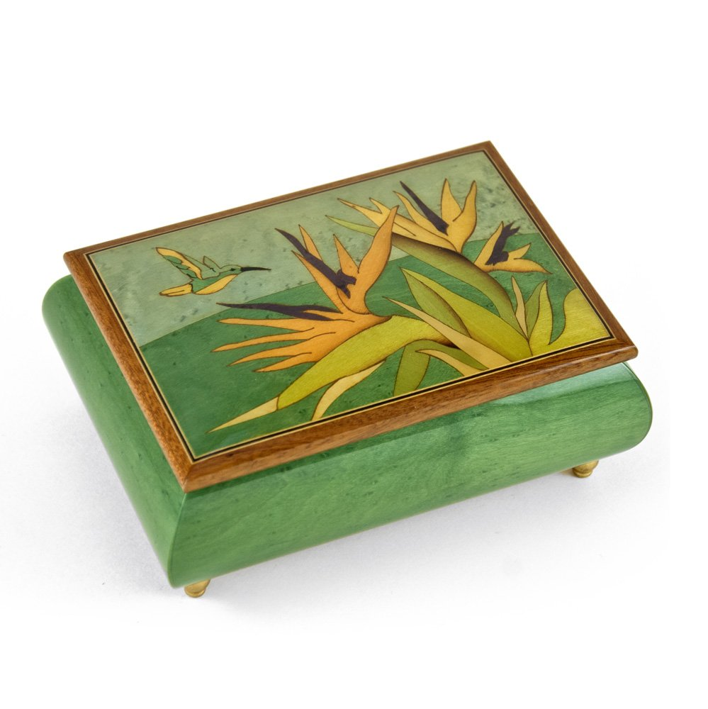 Handcrafted Tropical Music Box Birds of Paradise and Parrot Wood Inlay - Love is A Many Splendored Thing