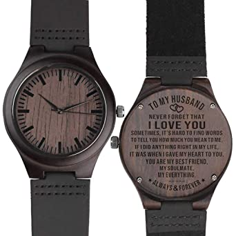 To My Husband Wooden Watch Engraved Always And Forever Wife Gift Best Wedding Personalized