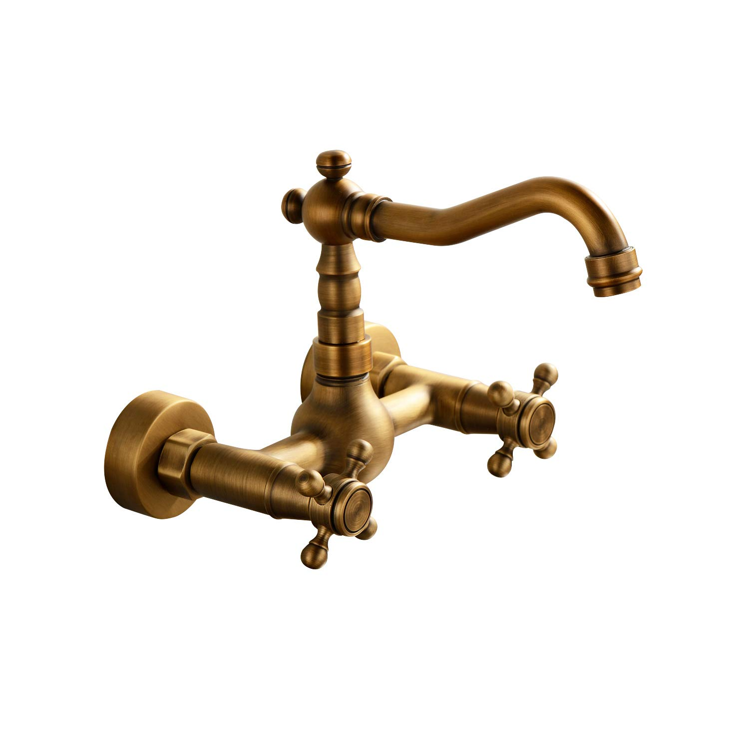 Sprinkle Antique Inspired Solid Brass Kitchen Faucet Wall Mount Bronze Two Holes Handles Long Curve Spout Bar Faucets Bamboo Shape Vintage Retro Design Lavatory Bathtub Mixer Taps Bath Shower Faucets