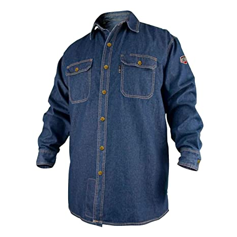96dcaa9fc2a2 REVCO BLACK STALLION FR FLAME RESISTANT DENIM WORK SHIRT - FS8-DNM LARGE - Protective  Work And Lab Clothing - Amazon.com